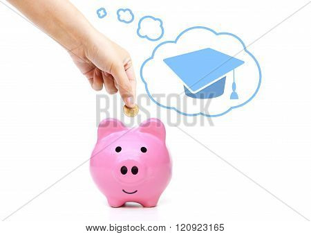 hand putting a coin into a pink piggy bank thinking of education - saving money for future education concept