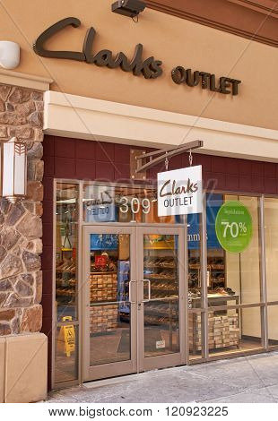 MONTREAL CANADA - MARCH 6 2016 - Clarks outlet in Premium Outlets Montreal. The Premium Outlets is the second Premium Outlet Center in Canada located in Mirabel Quebec.