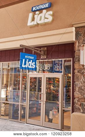 MONTREAL CANADA - MARCH 6 2016 - Lids outlet in Premium Outlets Montreal. The Premium Outlets is the second Premium Outlet Center in Canada located in Mirabel Quebec.