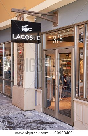 MONTREAL CANADA - MARCH 6 2016 - Lacoste outlet in Premium Outlets Montreal. The Premium Outlets is the second Premium Outlet Center in Canada located in Mirabel Quebec.