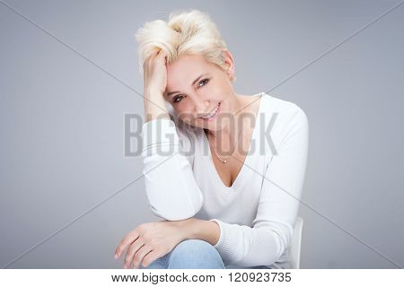 Portrait Of Blonde Woman.
