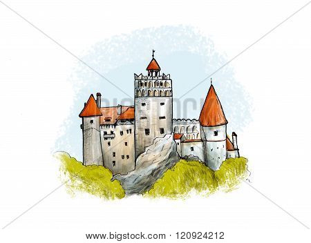 Bran castle colored drawing. Hand drawn illustration of famous fortress in Romania.