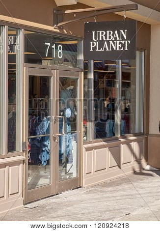 MONTREAL CANADA - MARCH 6 2016 - Urban Planet outlet in Premium Outlets Montreal. The Premium Outlets is the second Premium Outlet Center in Canada located in Mirabel Quebec.