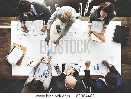 Business People Analyzing Statistics Financial Concept