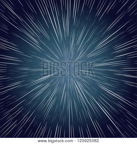Warp Stars. Ray Galaxy Background