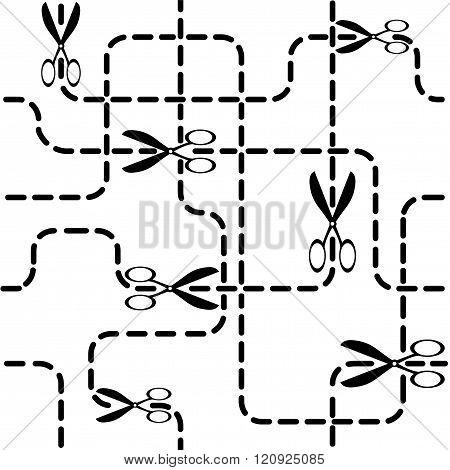 Line cutting scissors. Seamless vector background.