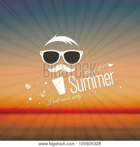 Summer background with funny men