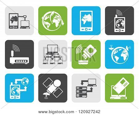 Flat communication, computer and mobile phone icons