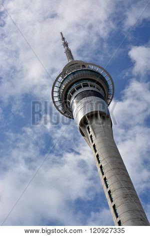 Auckland Sky Tower Communications & Tourist Attraction Angled View