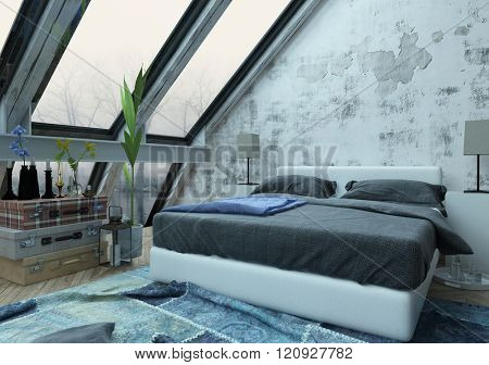Blue abstract designed carpet jammed under large bed in room with unfinished wall and slanted windows with view of bare trees outside. 3d Rendering.