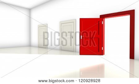 A room with two white closed doors and one red on the right open