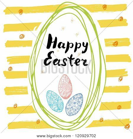 Happy Easter Hand Drawn Greeting Card With Lettering And Sketched Doodle Elements Ornamental Eggs In
