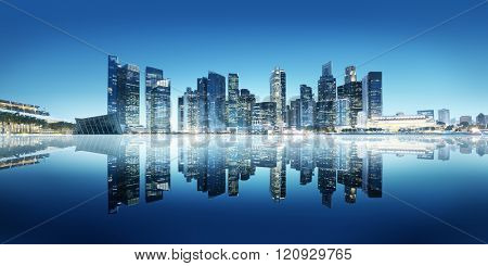 Building Reflect Bay Modern Business Office Concept
