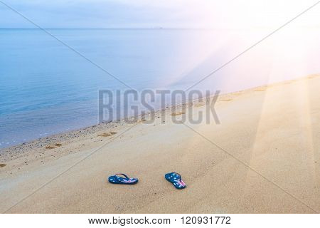 Thongs With Australian Flag On A Beach