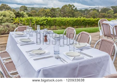 white served table in wineyard