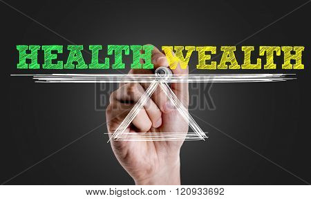 Hand writing the text: Health x Wealth