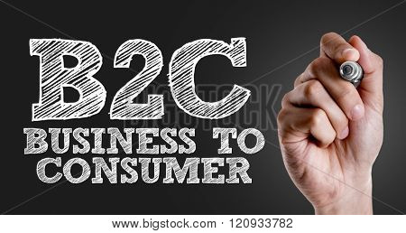 Hand writing the text: B2C