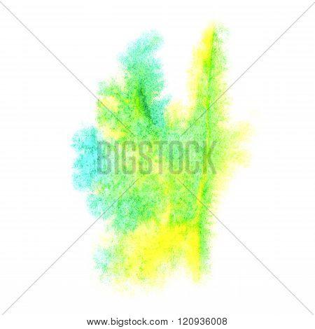 paint splash green yellow color ink watercolor isolated stroke splatter watercolour aquarel brush