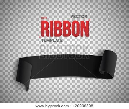 Black Vector Ribbon Banner. 3D Realistic Vector Banner Isolated