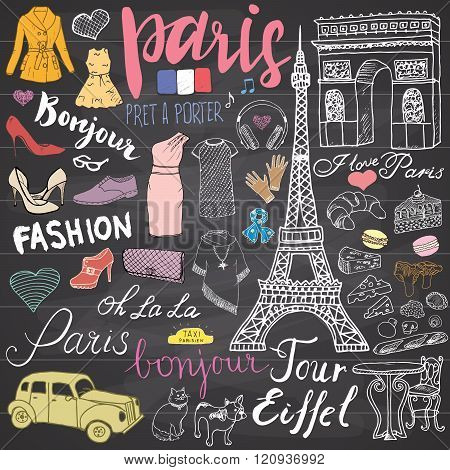 Paris Doodles Elements. Hand Drawn Set With Eiffel Tower Bred Cafe, Taxi Triumf Arch, Notre Dame Cat
