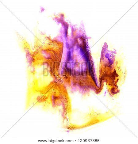paint yellow violet splash color ink watercolor isolated stroke splatter watercolour aquarel brush