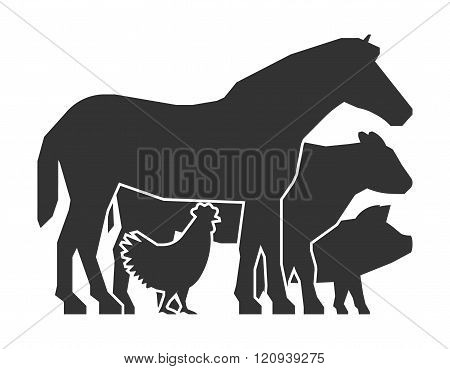Farmers market logo on a white background. Vector farmers market icon. Black farm animals. Farm animals symbol. Vector silhouette horse pig cow and chicken.