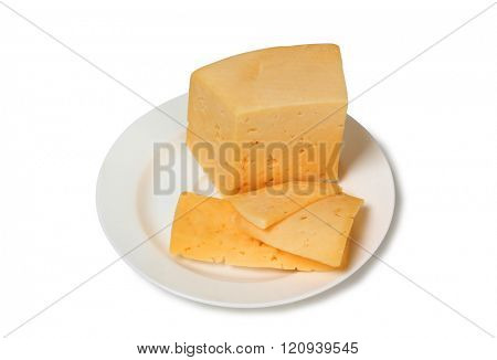 Yellow cheese on a plate on white background