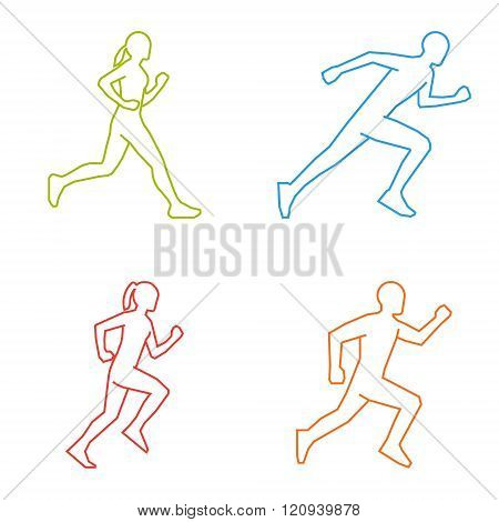 Colored silhouettes of runners. Line vector figures marathoner. Linear running symbol. Vector running and marathon logo. Outline shapes runners.