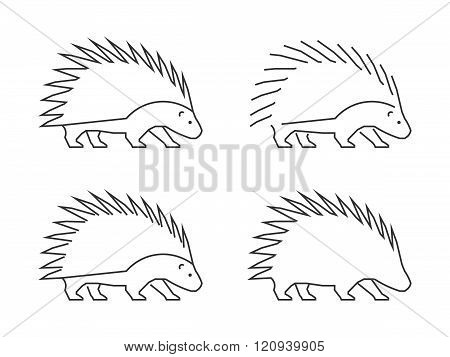 Outline porcupine on a white background. Vector silhouette porcupine. Modern hedgehog icon.