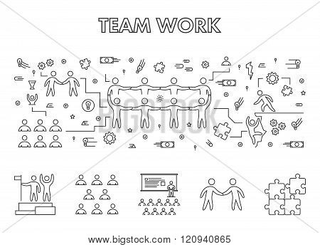 Vector line design concept web banner for teamwork. Modern linear horizontal banner for working together. Line creative style concept for web.