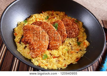Chcicken Loins With Curry Rice