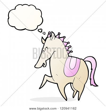 cartoon prancing horse with thought bubble