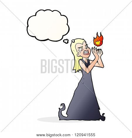cartoon witch woman casting spell with thought bubble