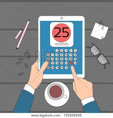 Calendar Hand Hold Tablet Computer Digital Device 25 Last Financial Statements