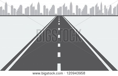 Illustrated vector Road to urban city
