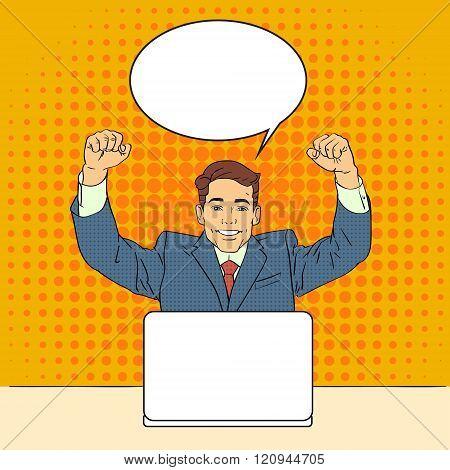 Business Man Success Celebrating Hand Up Sit Laptop Computer Pop Art Retro Style Chat Bubble