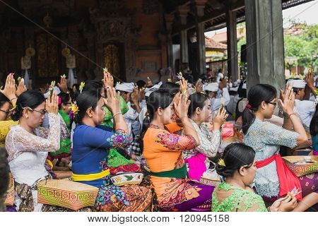Ubud, Bali - March 8: Unidentified People During Performed Melasti Ritual Before Balinese Day Of Sil
