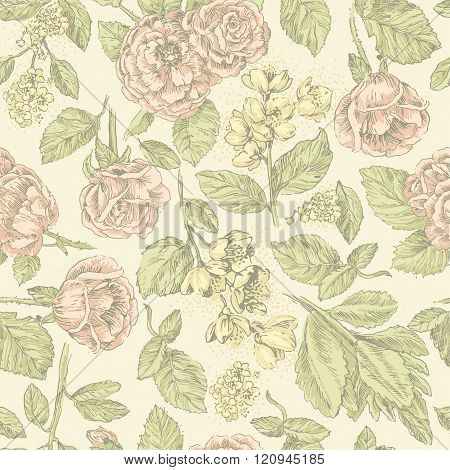 Vintage seamless pattern with pink  roses and jasmine on beige background
