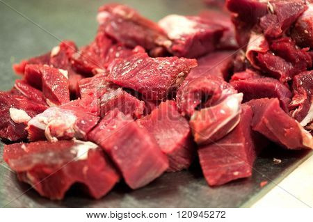 Raw Red Meat On Table