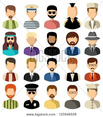 Set Of Flat Icons Set With Men.