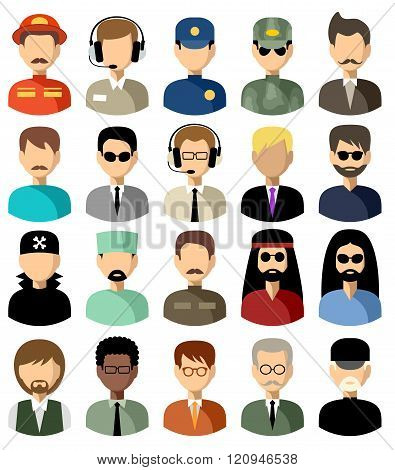 Set Of Flat Icons Set With Men. Vector Illustration