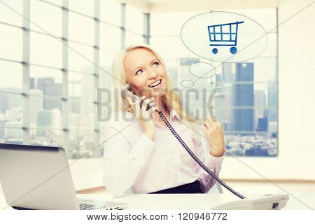 business, communication, people and technology concept - smiling businesswoman or secretary calling on telephone over office room with city view window background