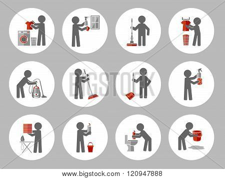 Set Of Icon Cleaning With Figure People.