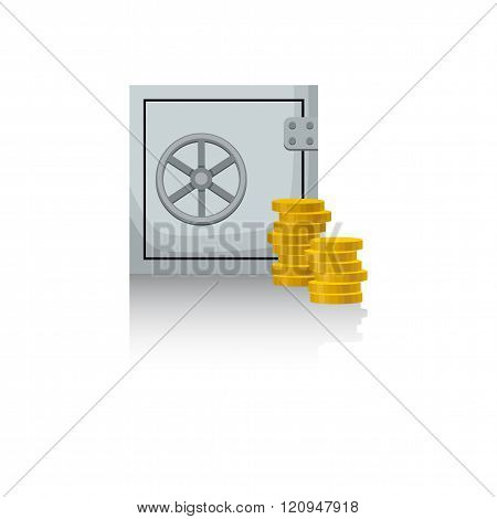 Safe With Money. Coins. White Background. Vector Illustration