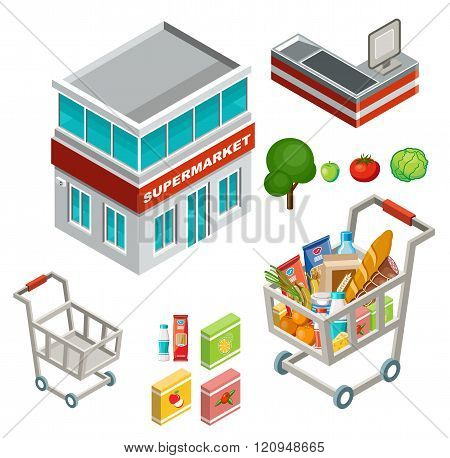 Vector isometric illustration of a supermarket on a white background