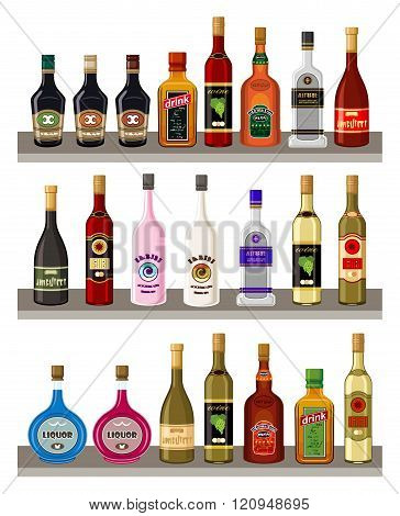Vector alcoholic beverages on the white background