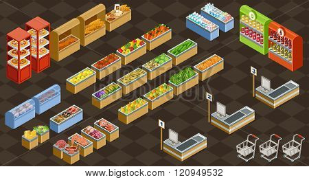 Vector illustration of a supermarket. Sale of fruit vegetables milk meat and fish