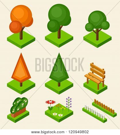Isometric vector tree set on the beige background