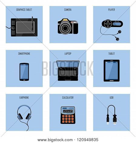 Set of vector gadgets on a blue background