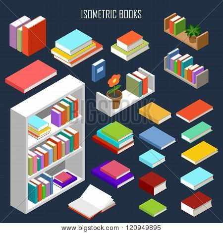 The vector image of isometric books in the opened and closed look and furniture
